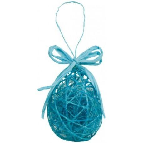 Oeuf de Pâques Turquoise en Sisal