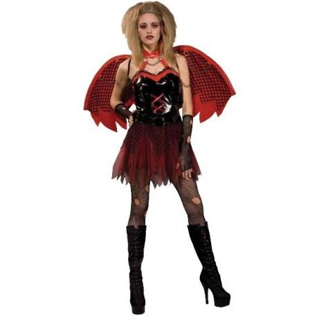 Déguisement ange déchu femme rouge et noir