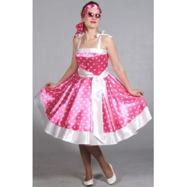 Costume Robe Rock'n Roll Rose à Pois Femme