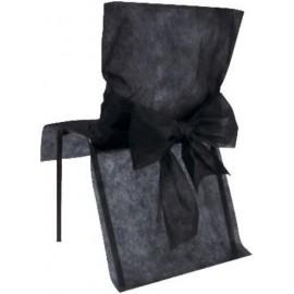 Housses de Chaise Intissé Noir et Noeuds les 10