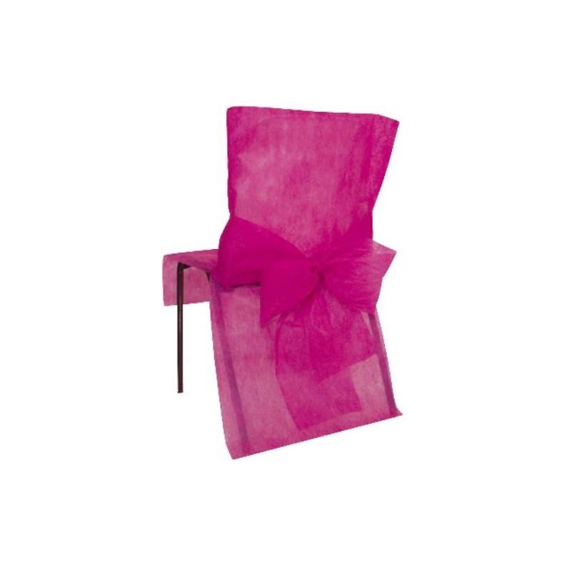housses de chaise intiss fuschia avec noeud intiss d coration de salle. Black Bedroom Furniture Sets. Home Design Ideas