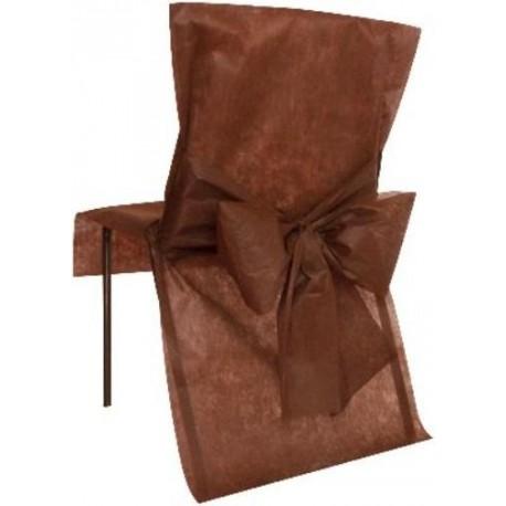 housse de chaise chocolat intisse uni avec noeud x10