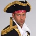 Chapeau tricorne noir adulte velours galon or luxe