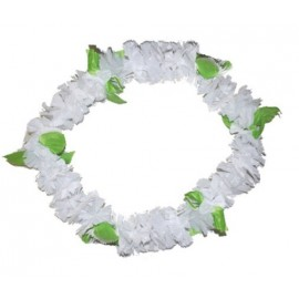 Collier Hawaï blanc fleurs Hawaïennes en tissu