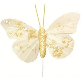Papillons Plume Ivoire sur Tige Les 6