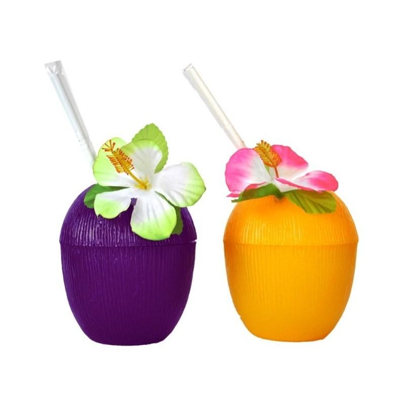 Verre noix de coco prune paille et fleur hawaienne - Fleure hawaienne ...