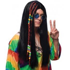 Perruque hippie longue noire homme deluxe