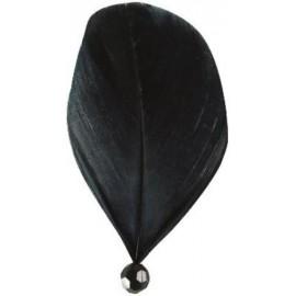 Plumes Noires avec Perle 8 cm les 6