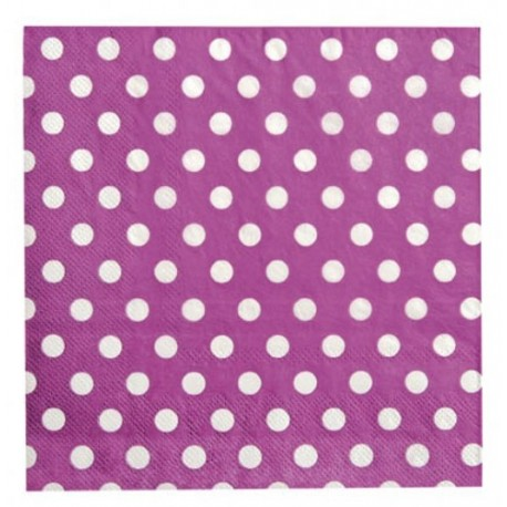 Serviettes de Table Prune Motif Pois