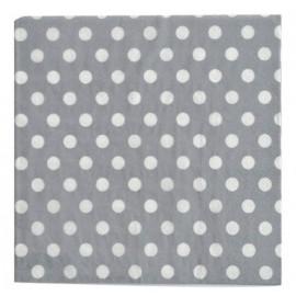 Serviette de table argent pois blanc en papier les 20