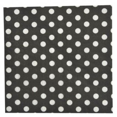 Serviette de table noire à pois en papier les 20