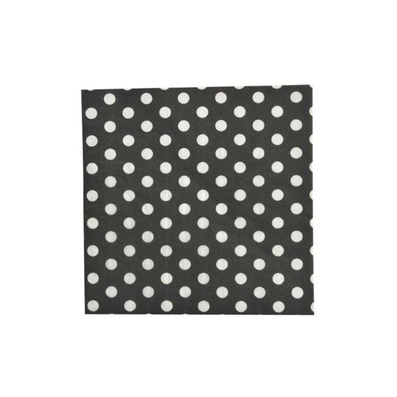 serviette de table noire pois en papier les 20 serviette pois. Black Bedroom Furniture Sets. Home Design Ideas