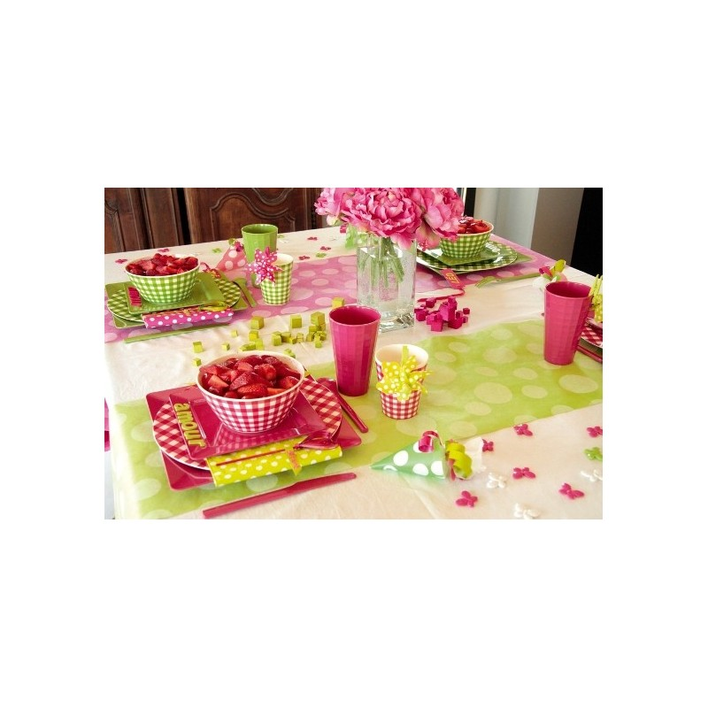 Chemin de table pois blancs intiss 5 m 5 couleurs for Chemin de table plastique