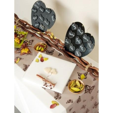 Chemin de table papillon chocolat Organdi
