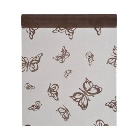Chemin de table Papillon Chocolat Organdi