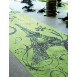 Chemin de table Paris vert en tissu organdi