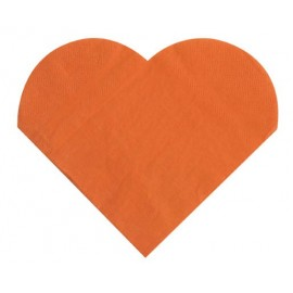 Serviettes de table coeur orange les 20 serviette en papier