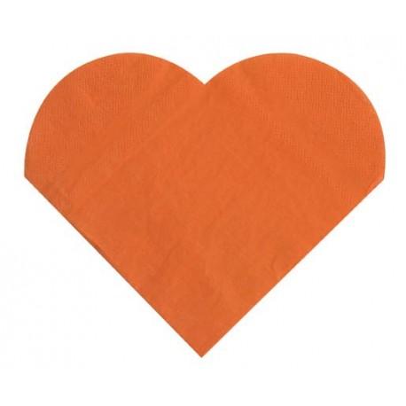 Serviettes de table coeur orange les 20 serviette en papier