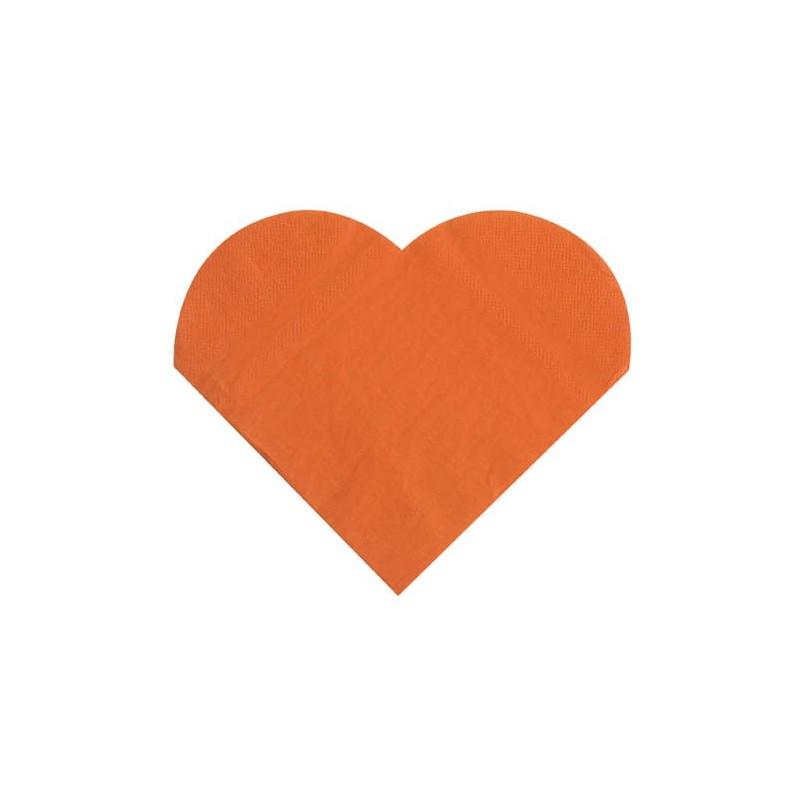 serviettes de table coeur orange les 20 serviette coeur en papier. Black Bedroom Furniture Sets. Home Design Ideas