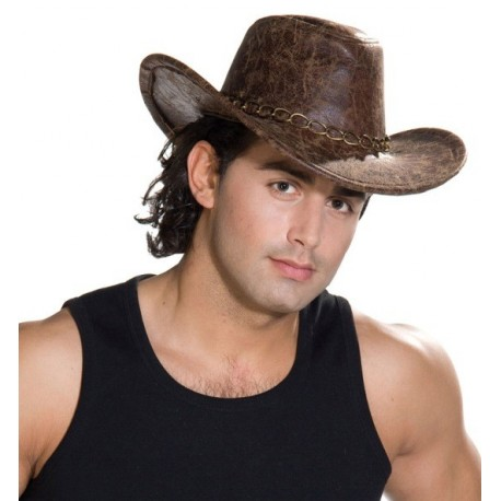 Chapeau Cow-boy Aventurier Marron imitation cuir Adulte