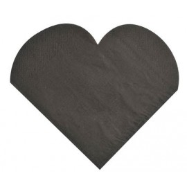 serviettes de table coeur noir en papier