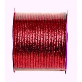 Cordon papier métallisé armé rouge 20 M