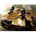 Sachets à dragées or brillant en tissu 10 cm les 6