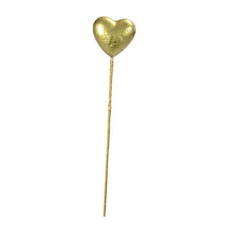 Coeur Brillant Or Sur Tige