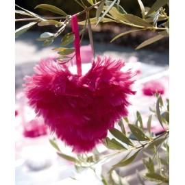 Coeur de plumes déco 12 cm - coloris au choix
