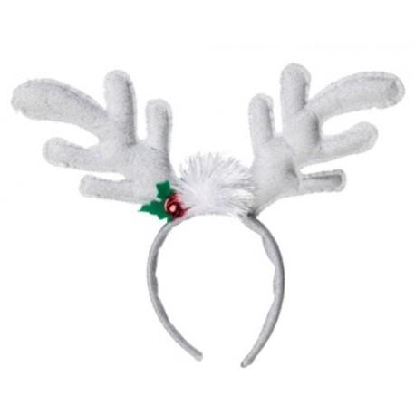 Serre Tête Renne de Noël Blanc Adulte