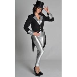 Déguisement queue de pie noire argent femme luxe