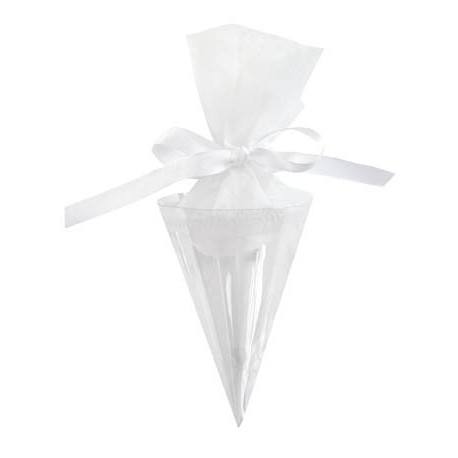 Cornet A Dragees Transparent 20 cm Les 6
