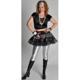 Déguisement Jupe Années 80 Noire Gris Argent Deluxe Femme
