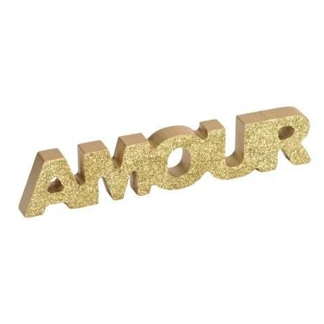 Mot Amour En Bois Paillete Or
