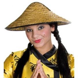 Chapeau chinois en paille naturelle adulte et enfant