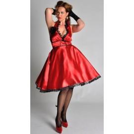 Costume Lola Robe Rouge Noire Satin Avec Fleur Femme