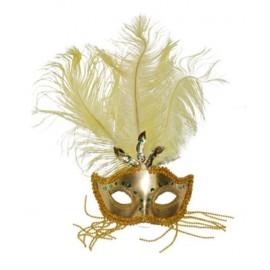 Masque Vénitien Or avec Plumes et Strass
