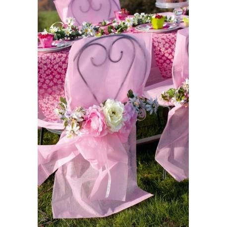 Housse de chaise intissé rose avec noeud les 10