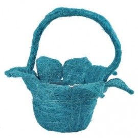 Panier en fleur sisal turquoise