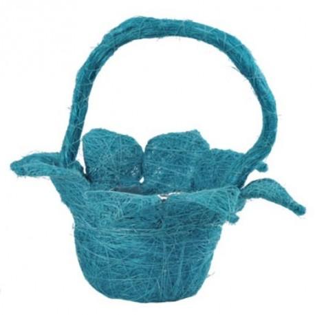 Panier fleur sisal turquoise