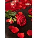 Pétales rouges en tissu avec feuilles Les 100
