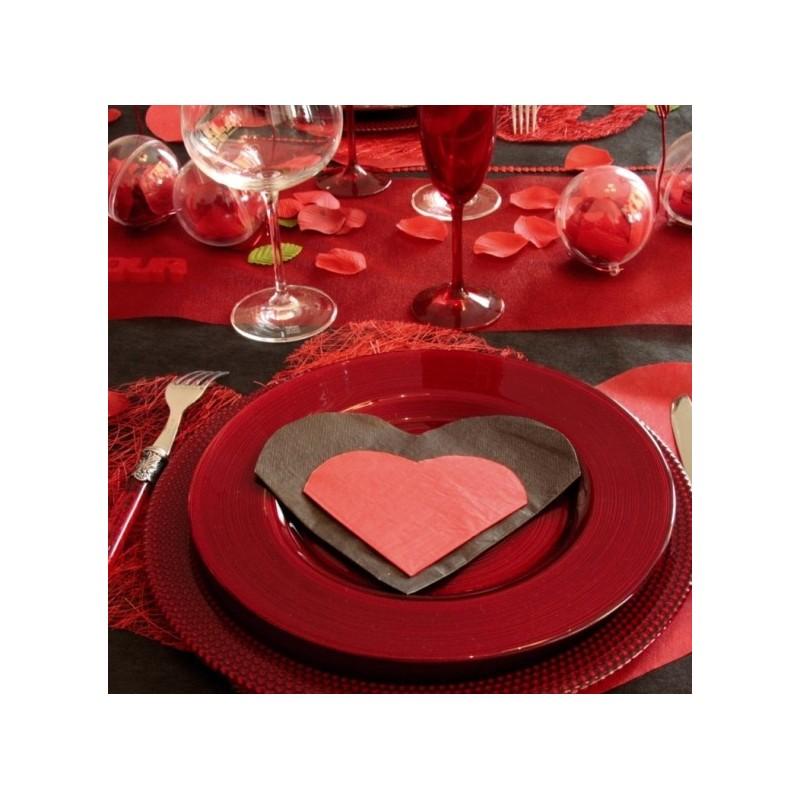 Serviettes de table coeur noir en papier les 20 for Serviette de table noir