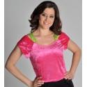 Déguisement Top Blouse Velours Pink Deluxe femme