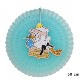eventail decoration bebe garcon bleu 60 cm