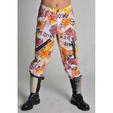 Deguisement pantalon punk imprime deluxe adulte