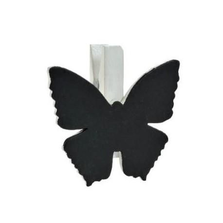 Ardoise papillon en bois blanc sur pince les 6
