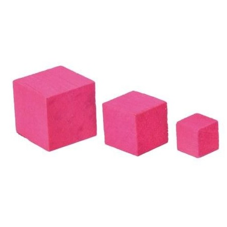 Cube en bois fuschia de decoration