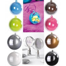 Boule transparente couleur 5 cm
