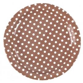 Assiette carton chocolat a pois assiette ronde jetable