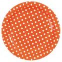 Assiettes Orange Rondes A Pois Carton 23 cm les 10